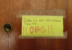 Påminnelse om att låsa dörren