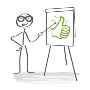 Nöjd streckgubbe som pekar med en pekpinne på ett blädderblock med en tumme upp.