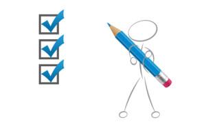En streckgubbe med en stor penna bockar av saker på en lista.
