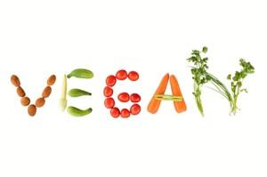 Vegan skrivet med grönsaker