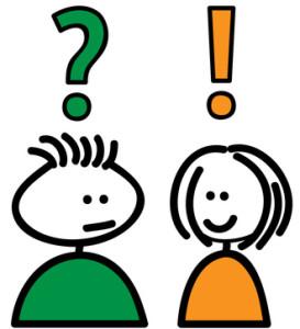 Streckgubbe frågar streckflicka. Mannen har ett stort frågetecken över huvudet och kvinnan ett utropstecken.