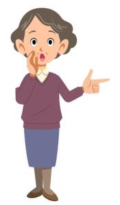 """Tecknad äldre kvinna som rättar och pekar i """"rätt"""" riktning."""