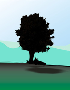 Målad siluett av en ek mot grön mark och en turkos himmel.